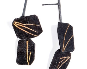 Asymmetrical Black Post Earrings, Unique Texture, Geometric Earrings, Black And Gold Dangle Earrings, Modern Statement, Hand Made Earrings