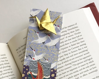 Gold Crane Bookmark (on gray/purple)