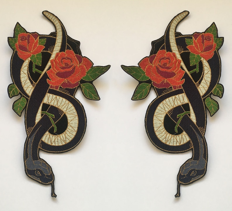 Gothic Hard Rock Tattoo Style Snake Wrapped around Roses Iron On Embroidery Patch