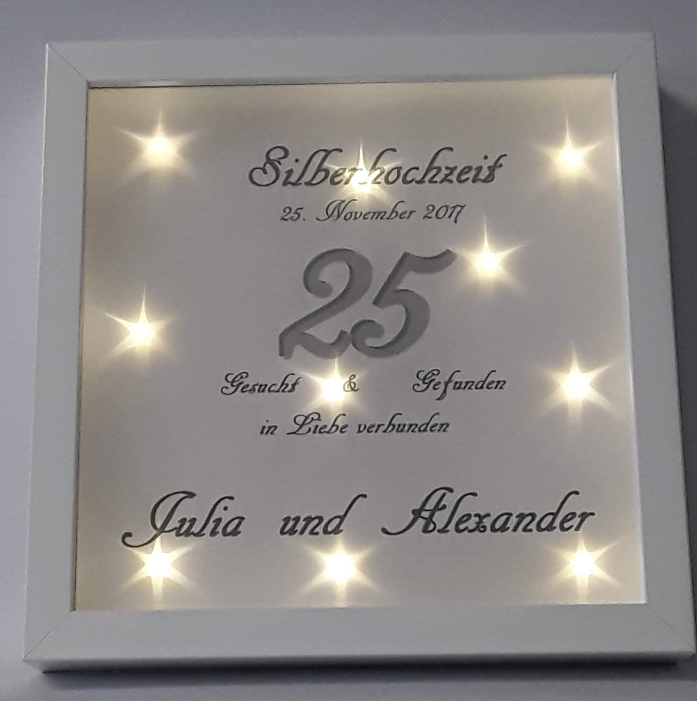 Bilderrahmen beleuchtet LED Silberhochzeit 510/18 | Etsy