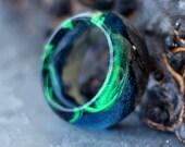 Wood resin ring Polar Night Green secret of wood rings magic tiny landscape Eco epoxy ring resin rings Northern Lights aurora borealis ring