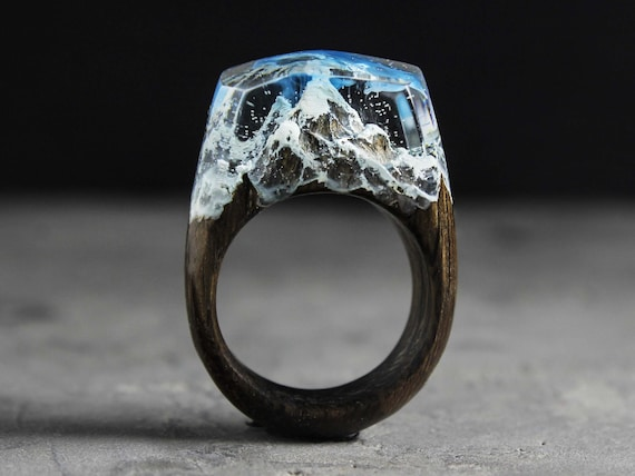 Wood ring with mountain jewelry wood accessory resin ring Statement ring