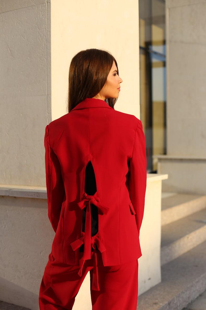 Casual Red Blazer Backless  Unique Blazer