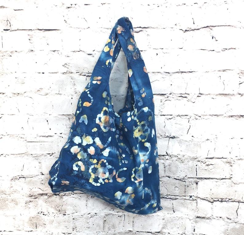 Zero Waste Bag  Batik Indigo Orange Swirls  handmade image 0