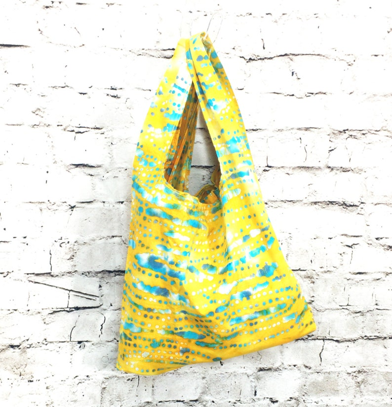 Zero Waste Bag  Batik Yellow Teal Spotted Waves  handmade image 0