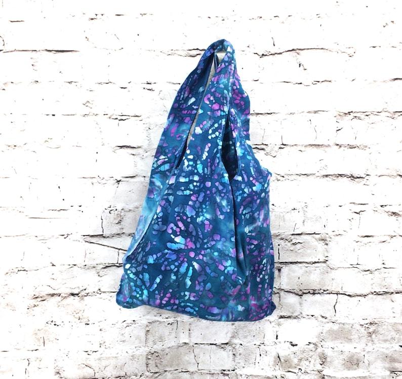 Lunch Bag  Batik Indigo Bursts   handmade compact reusable image 0