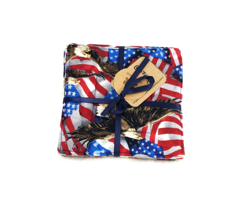 Set of 6 reversible fabric coasters patriotic americana eagles image 0