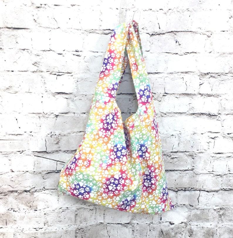 Zero Waste Bag  Rainbow Pawprints on White  handmade image 0