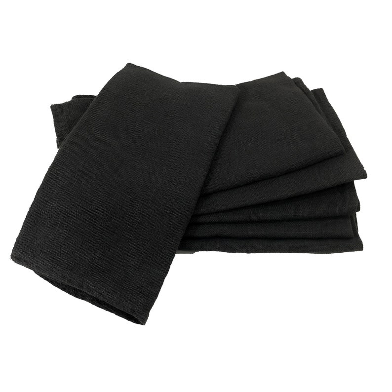 6 Cloth Napkins  Midnight Black  eco friendly cloth napkins image 0