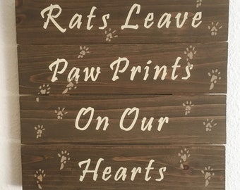"""Hand Painted Distressed Sign Rats Leave Paw Prints 10""""x10"""""""