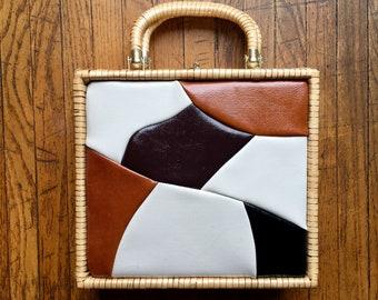 Large 1960's Hong Kong Straw and Patent Leather Bag, Vintage Handbag, Box Purse, Picnic Basket Bag