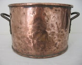 Very Large Antique French Solid Copper Pot Planter 18th Century Iron Rivetted Handles Shabby Chic Chateau Chic Jeanne d 39 Arc