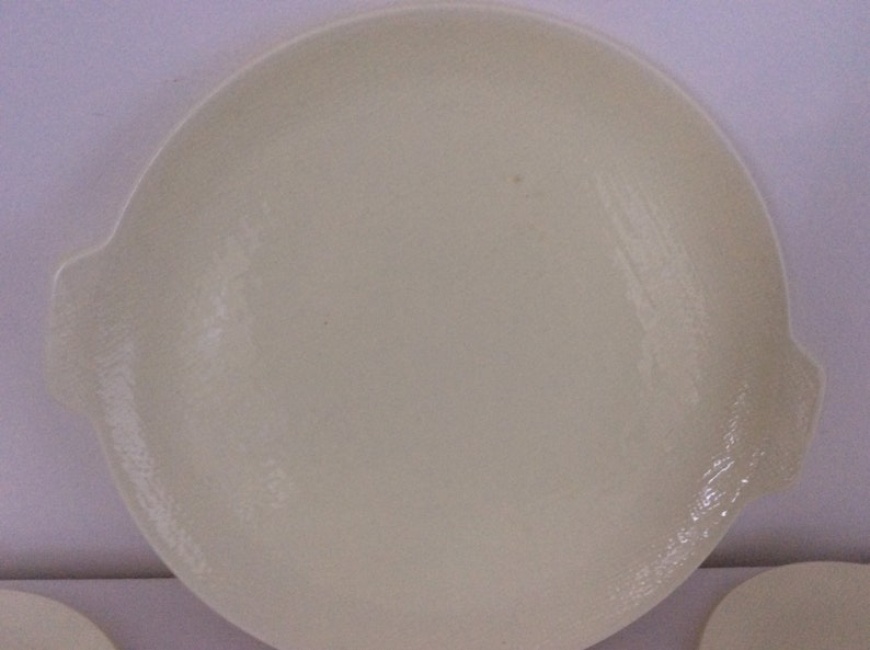 Gorgeous Salins Serving Plate and 6 Side Plates Yellow Textured Woven Effect Deauville Collection 1950/'s French Vintage