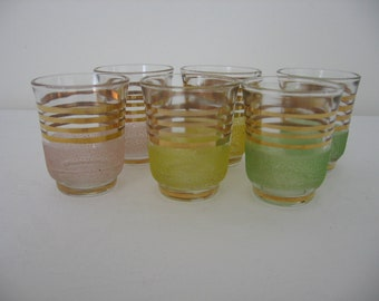 Set of 6 Mid-Century 1950s Tiny Shot Glasses / Liqueur Glasses Gold Bands 3 Colours Pink / Yellow / Green Sandy Frosted Finish