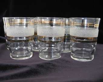 Set of 6 Mid-Century 1950s Small Tumblers / Wine Glasses / Liqueur Glasses Gold Bands White Sandy Frosted Finish