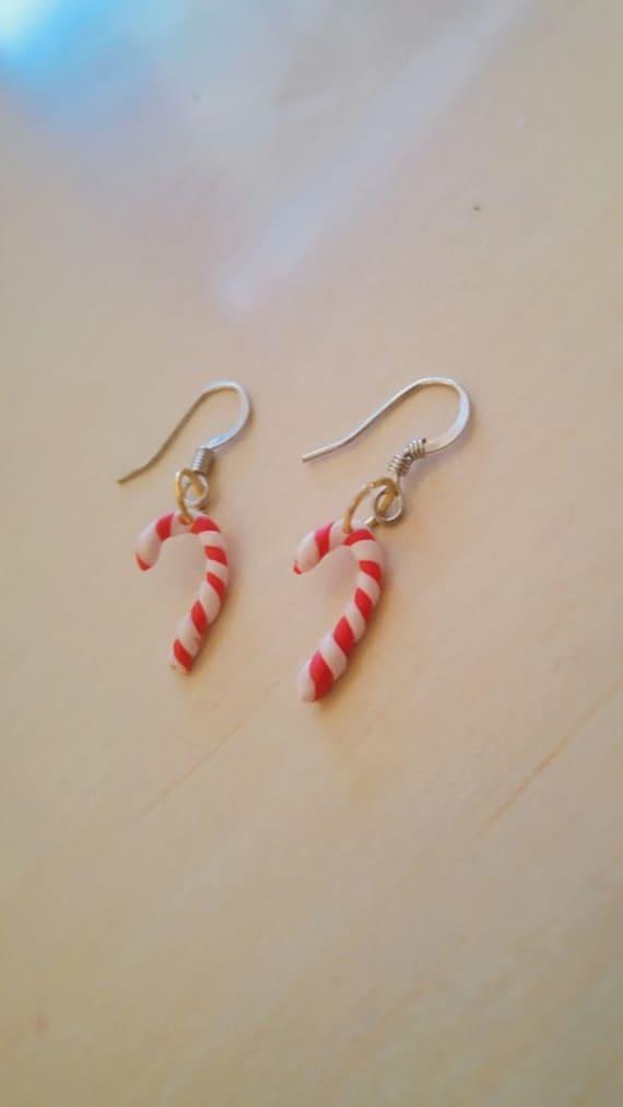 Polymer Clay Christmas Earrings.Clay Christmas Earrings Barley Sugar
