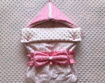 Baby Sleeping Bag with Hood and Zip, Baby Girl Sleeping Bag, Pink Sleeping Sack, Cotton Minky Stroller Blanket, Baby Wrap Bag, Babyshower