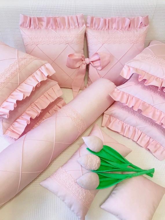 Light Pink Baby Girl Bedding Set Cot Bumper Baby Bedding Etsy