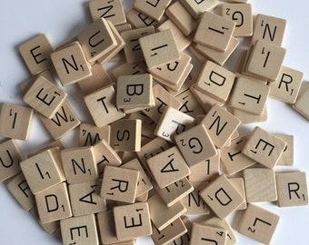 102 wood bulk Scrabble tiles   complete set   1970s vintage original scrabble tiles   white with black letters