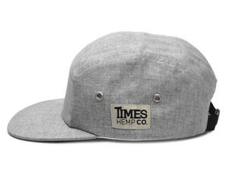 Decker 5 Panel Hat by Times Hemp Company. Solid gray all around and  embroidered side logo. Strapback 433c1f8226a9