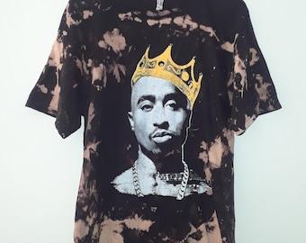 2Pac Tupac Shakur Crown Vintage Bleached T Shirt
