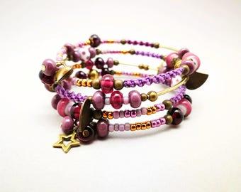 Multi strand purple to wrap around the wrist bracelet