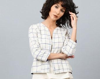 Womens Short Jacket   Casual Jacket Woman   Shrugs For Women   Summer Jackets   Minimalist Clothing   Chequered Jacket   Happy Checks