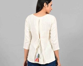 Cotton Top For Women   Cotton Blouse   Cashmere Cotton   Minimalist Clothing   Fall White