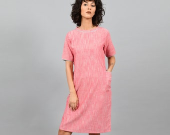 Shift Dress With Pockets   Cotton Tunics For Women   Cotton Dress   Nectar Pink