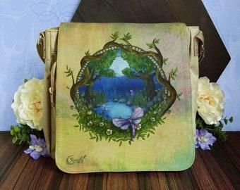 Midsummer Litha beige shoulder bag, magickal dragonflies bag, fairy world, moon magick, pagan witch accessory, nature illustration, fae gift