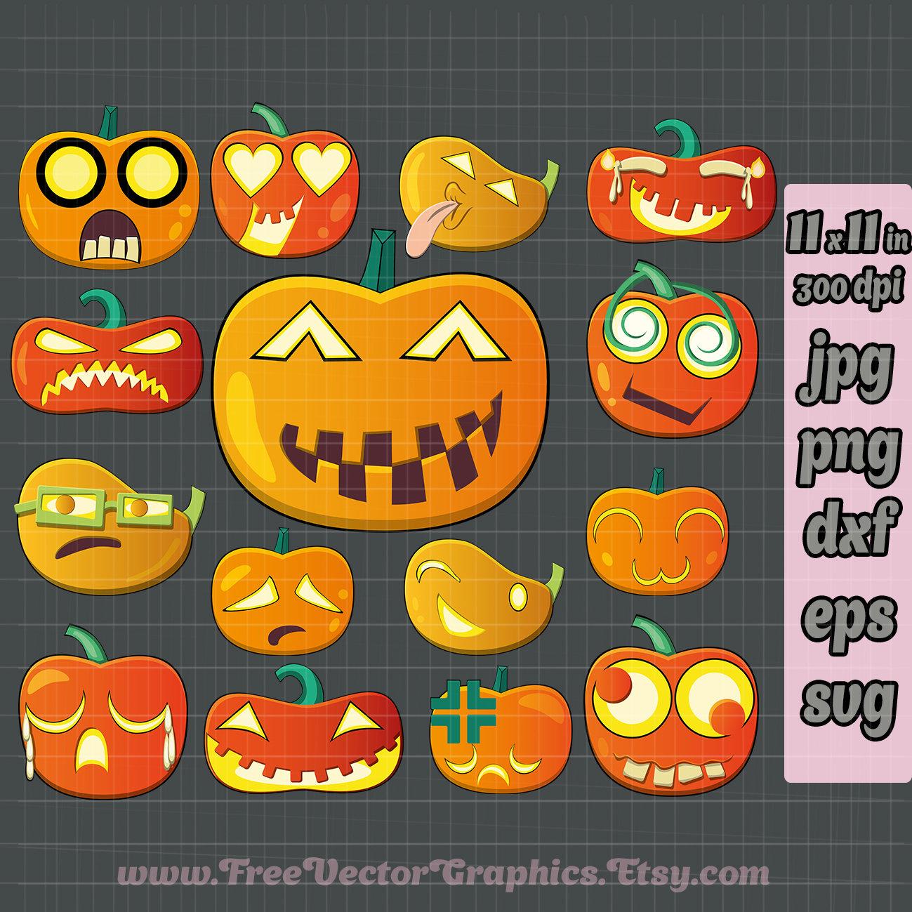 15 Emoji Pumpkin Svg Pumpkin Clipart Pumpkin Face Svg Png Etsy