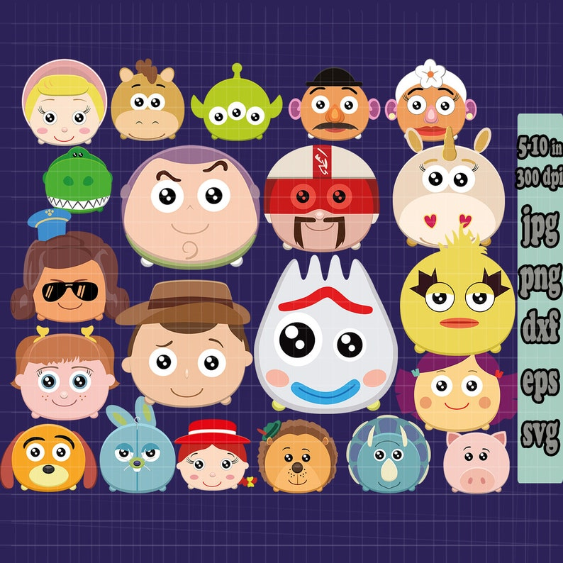 20 Tsum Tsum Svg Disney Toy Story 4 Svg Bundle Cartoon Svg Birthday Shirt Cut Character Woody Svg Toy Story Clipart 2019 Svg File For Cricut
