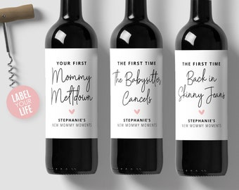 New Mommy Moments Wine Labels, Champagne Labels, New Mom Gift, New Parents Gift