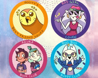The Owl House Inspired Coven Stickers   Hooty, Eda, Luz, Amity, King
