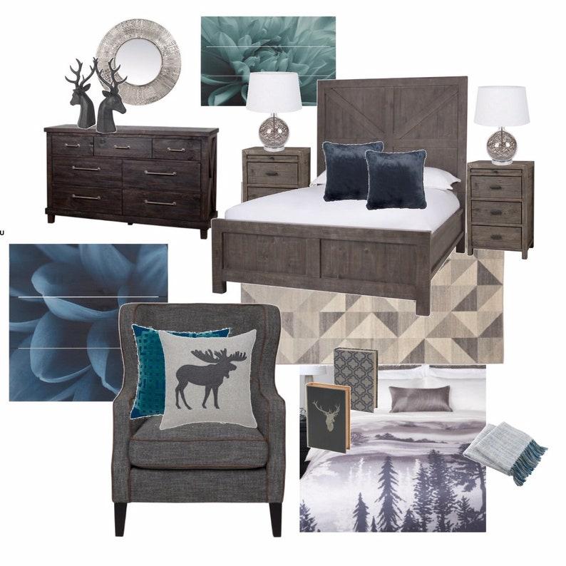 Online Interior Design: Bedroom, Bedroom Decor, Virtual Interior Designer,  E-Designer, Bedroom Design, Bedroom Furniture, Design Moodboard