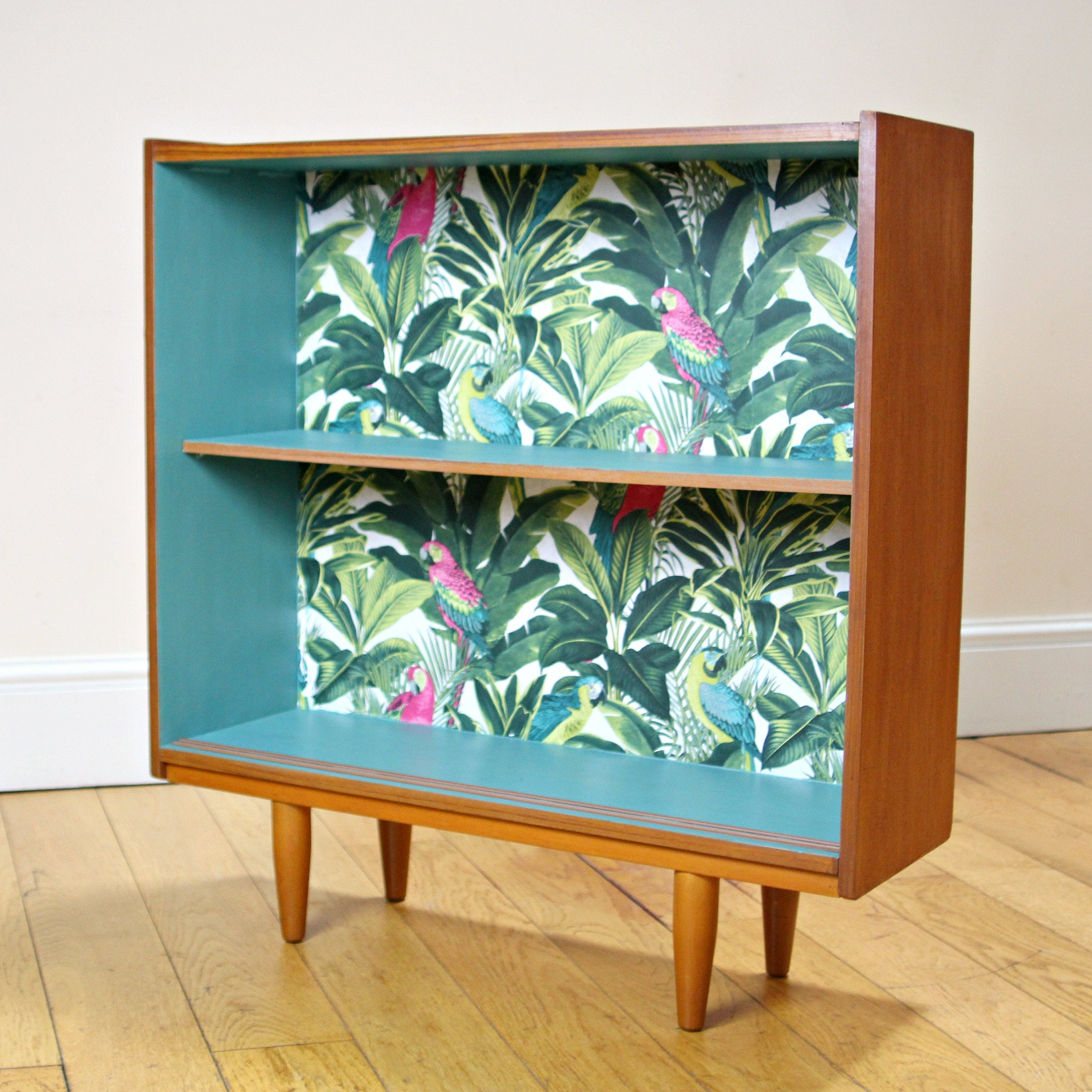 SOLD Unique Upcycled Mid Century Bookcase In Teal U0026 Teak With Tropical  Design