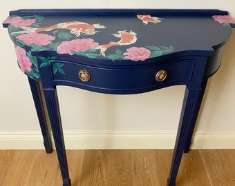 Deep Blue Hand Painted Hall/Console/Occasional Table With Chinoiserie Inspired Koi and Peony Design