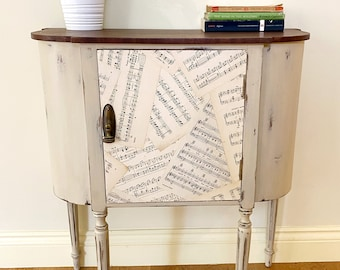 Unique Refinished Edwardian Cabinet/Cupboard/Nightstand With Vintage Sheet Music