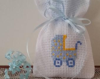 Embroidered in cross stitch confetti bags