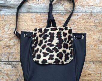 Mini 90s black leopard print backpack d8f8176dedf43