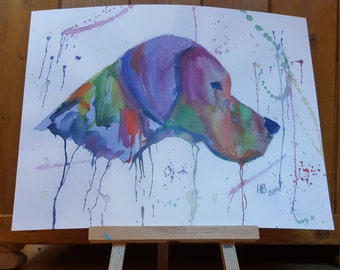 """Limited edition print of my water colour pointer """"The light that guides me"""" signed and dated"""
