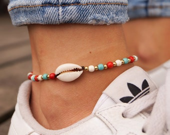 Goa Anklet Boho Ethno Womens Ankle Bracelet Surfer Festival Style Hippie Gypsy Outfit Macrame Oriental Jewelry for Woman