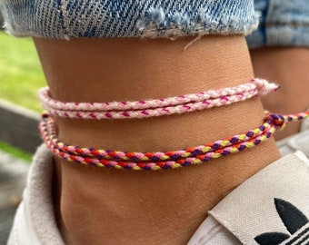 Surfer Beach Anklet Set for Women and Men - Womens Boho Ethno Ankle Bracelet - Mens Ankle Chain - Handmade Festival Jewelry - Waterproof