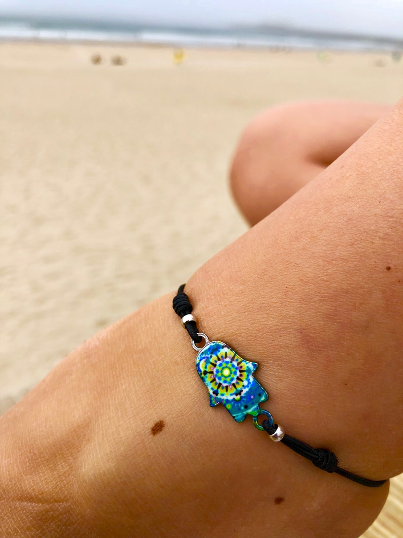 Made by Nami in 6 colors Anklets for Women Ankle Bracelet Boho Surfer Jewelry with Hamsa Hand Charm Handmade