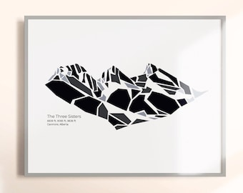 The Three Sisters Mountain in Canmore, Alberta - (Banff Canada, Prints, Art Print, Banff Poster, Mountain Art, Banff Wall Art, Banff Poster)