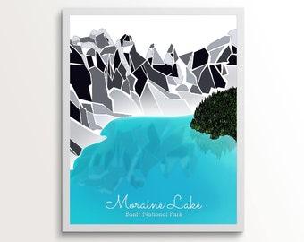 Moraine Lake in Lake Louise, Alberta, Canada. The shimmering deep aquamarine of Moraine Lake - Banff, Alberta