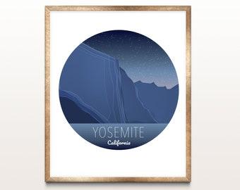 Yosemite Print, Yosemite National Park Poster, (Digital Art/ Home Decor/ Yosemite Art/ National Parks/ California) Premium quality wall art