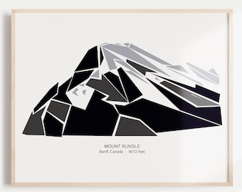 Mount Rundle in Banff National Park, Banff, Alberta, Canada Mountain Wall Illustration (Rundle Mountain, Mt. Rundle)