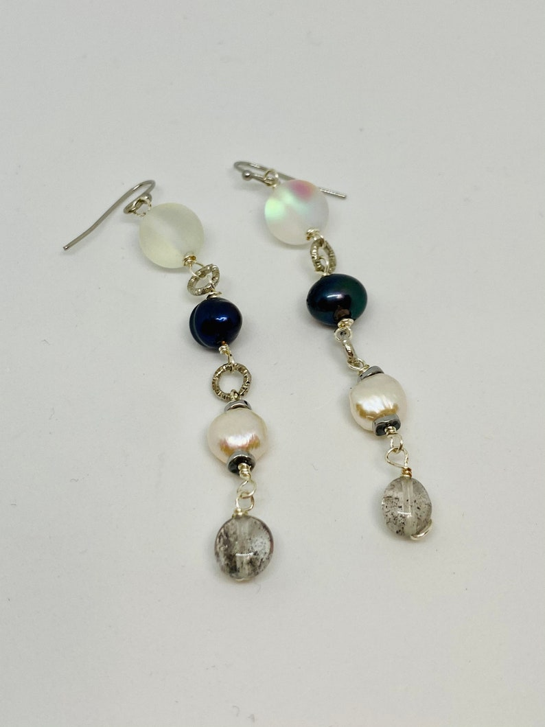 Party Earrings Jewelry Wedding Unique Beaded Handmade Crystal Mineral Long Dangle Freshwater Pearls Opal Quartz