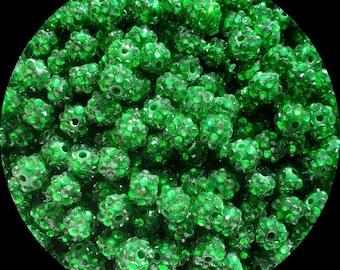 10mm Green Rhinestone Chunky Beads Bubble Gum Pearls Set of 10   C96